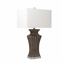 "Ceramic 29"" Fluted Urn Table Lamp - Dark Gray"