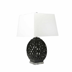 "Ceramic 29"" Table Lamp With Cutouts Black"