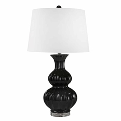 "Ceramic 30"" Double Gourd Table Lamp - Black"