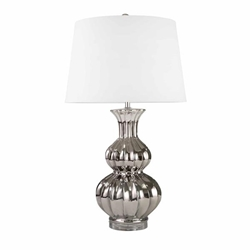 "Ceramic 30"" Double Gourd Table Lamp - Silver"