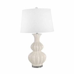 "Ceramic 30"" Double Gourd Table Lamp - White"