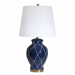 "Ceramic 30"" Urn Table Lamp - Blue"