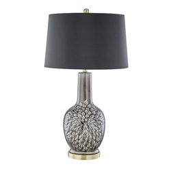 "Ceramic 31"" Embossed Floral Table Lamp - Gray"