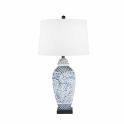"Ceramic 31"" Ginger Jar Table Lamp -Blue & White"