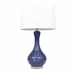 "Ceramic 31"" Pierced Bottle Table Lamp - Navy Blue"