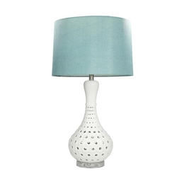 "Ceramic 31"" Pierced Bottle Table Lamp - White"