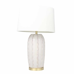 "Ceramic 31"" Ribbon Table Lamp -Ivory"