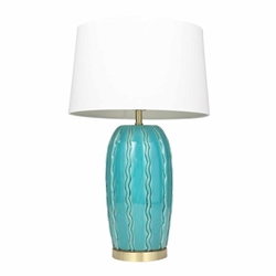 "Ceramic 31"" Ribbon Table Lamp -Teal"