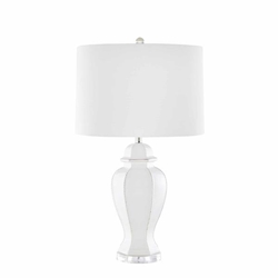 "Ceramic 31"" Rope Embossed Table Lamp - Cream"