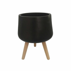 "18"" Planter With Wood Legs Matte Black"