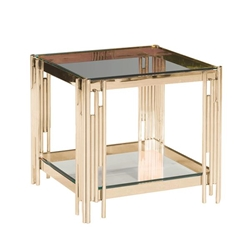 2-Tier Gold & Glass Accent Table