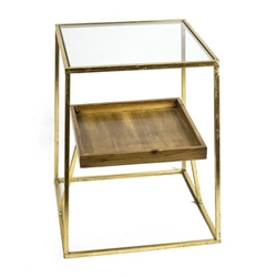 2-Tier Gold Accent Table - Wood- Glass Top