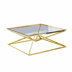 "Glass Top Coffee Table 42X42""Gold"