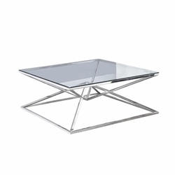 "Glass Top Coffee Table 42X42""Silver"