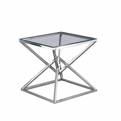 "Glass Top Side Table 21.75""- Silver"