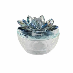 Glass Trinket Box Clear Withlt Blue Lotus Top