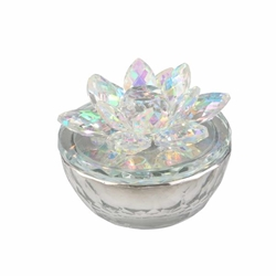 Glass Trinket Box Clear Withrainbow