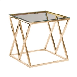 Gold & Glass Diamond Accent Table