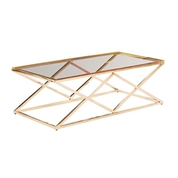 Gold & Glass Diamond Cocktail Table