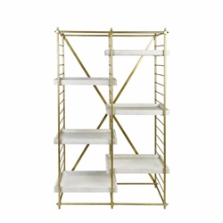 "Gold Iron 69"" Etagere With Wooden Shelves"