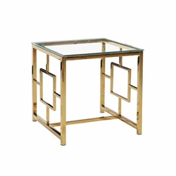 Gold Metal & Glass Accent Table