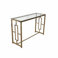 Gold Metal & Glass Console Table