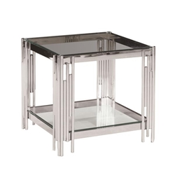 2-Tier Silver & Glass Accent Table