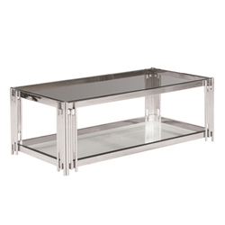 2-Tier Silver & Glass Cocktail Table