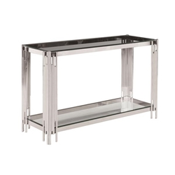 2-Tier Silver & Glass Console Table