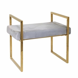 Gray & Gold Velveteen Bench With Handles