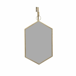 Hanging Gold Hexagon Mirror