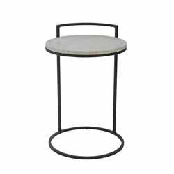 "Iron 23"" Accent Table With Marble Top- Black"