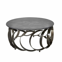 "Iron 36"" Coffee Table Withmarble Top- Black"