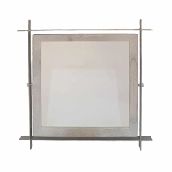 Light Wood & Silver Square Mirror