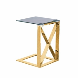 "Metal ""X"" Frame 22"" C Table - Gold"