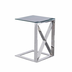 "Metal ""X"" Frame 22"" C Table - Silver"