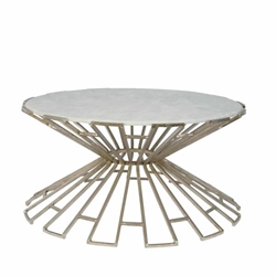 Metal & Marble Art Deco Cocktail Table - Silver