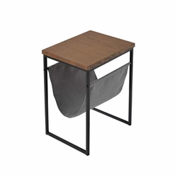 Metal & Wood Accent Table Withmagazine Rack- Black
