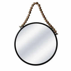 "Metal 20"" Round Mirror With Bea- Black"