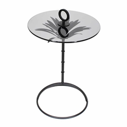 "Metal 22"" Palm Accent Table - Black"