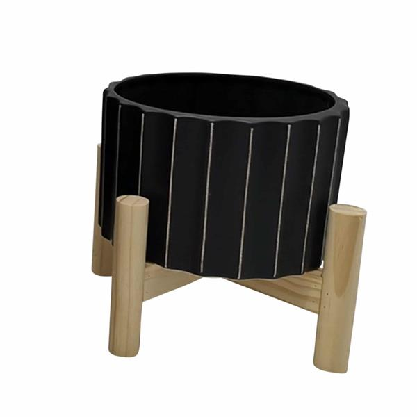 "6"" Ceramic Fluted Planter With Wood Stand - Black"