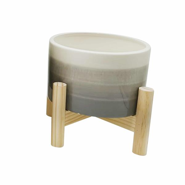 "6"" Ceramic Planter With Wood Stand - Beige Mix"