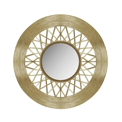 "Metal 28"" Weave-Like Mirror - Gold"