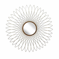 "Metal 31.5"" Spirograph Wall Mirror - Gold"