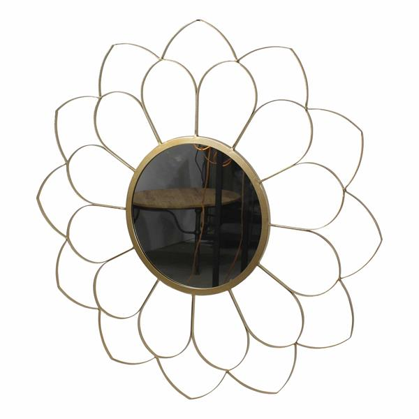 "Metal 33"" Flower Mirror - Gold"