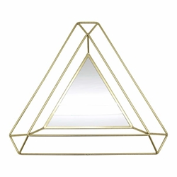 "Metal 34"" Triangle Mirror - Gold"
