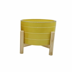 "6"" Ceramic Striped Planter With Wood Stand - Yellow"