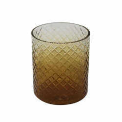 "6"" Cut Glass Candle Holder - Amber"