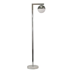 "Metal 62"" Flool Lamp With Marble Base - Silver"