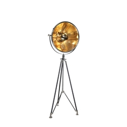 "Metal 62"" Photographers Tripod Floor Lamp - Black and Gold"
